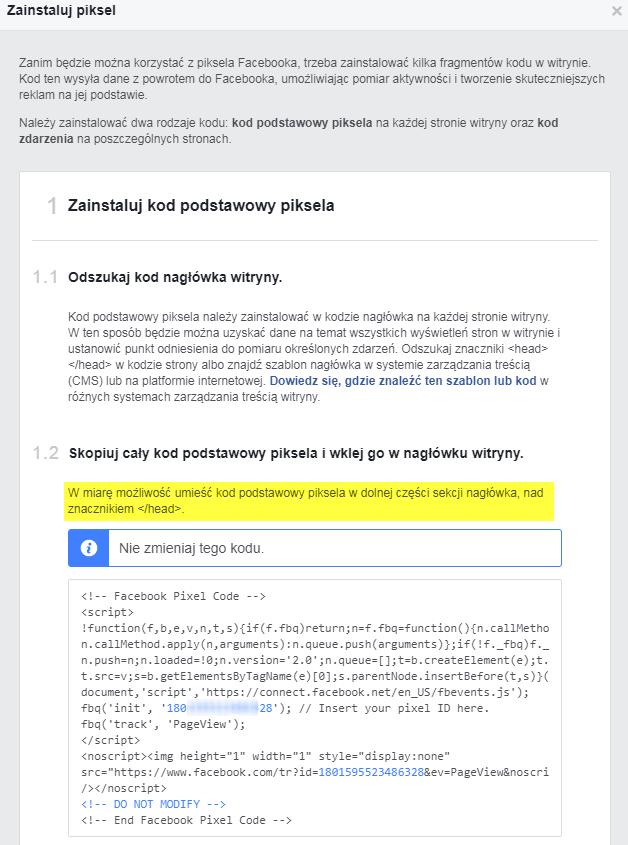 instalacja piksela Facebooka